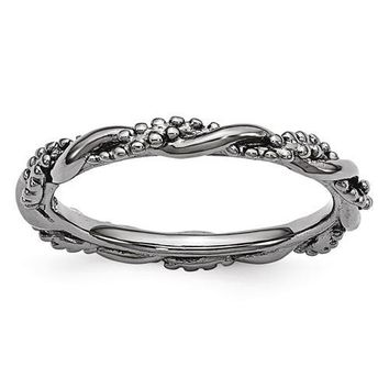 Sterling Silver Stackable Expressions Black Plated Twist Ring