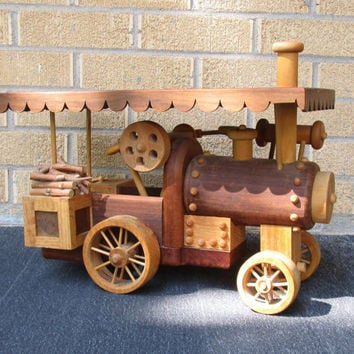 Large Vintage Wood Steam Tractor, Wooden Tractor, Handcrafted Wood Farm Tractor, Boys Room Decor, Unique Gift for a Man, Farm Tools