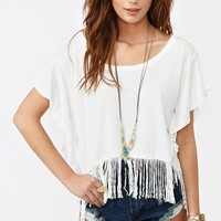 Fringe Crop Tee - Ivory in  Clothes at Nasty Gal