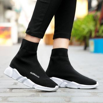 Spring/Summer New Arrival 2018 Slip On Male High Top Men Casual Shoes  Breathable  Sock Shoes Fly Weave Male Casual boots