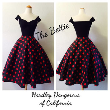 The Bettie Dress in Black Cherry Polkadots, Red ROCKABILLY Capped Sleeve Swing Dress, 1950s Style Special Occasion Birthday