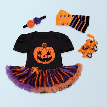 Fashion baby girl pumpkin rompers jumpsuits lace tutu dresses toddler shoes leg warmer headwear Halloween party kid outfits gift