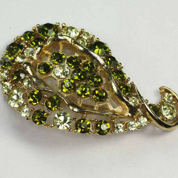 Green Rhinestone Brooch Light and Dark Green Signed Lisner Vintage