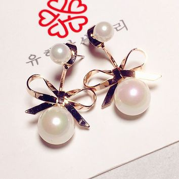 Golden Bow Pearl Wrapping Ear Cuffs - LilyFair Jewelry