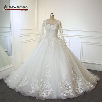 vestido de casamento Fluffy Ball Gown Lace Appliqued Keyhole Back Long Sleeve Wedding Dress
