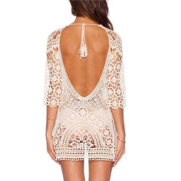 2017 Lace Crochet Beach Cover up Women Sexy Backless Bikini Coverup Robe De Plage Crochet Bikini Tunic Vacation Suncreen Wear