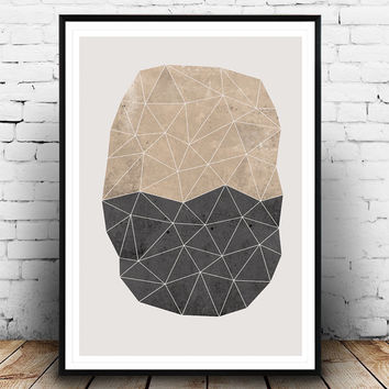 Polygon print, Triangles art, Abstract poster, geometric watercolor print, natural colors, Nordic design, Minimalist watercolor, Home decor