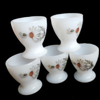 Milk Glass Egg Cups, Arcopal Pyrex from France Eggcups with a daisy motif , set of 5