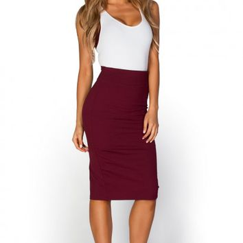Ruby Burgundy Red High Waist Midi Pencil Skirt