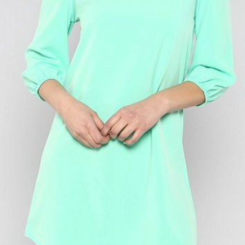Mint Solid Shift Dress