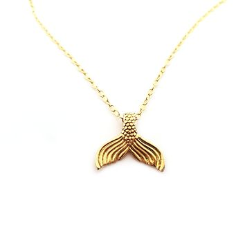 Mermaid Tail Charm Necklace - Dainty 14k Gold Filled Jewelry