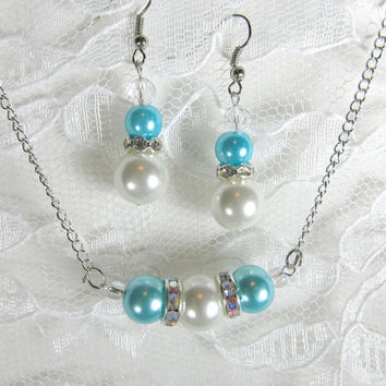 Pearl Crystal Wedding Jewelry - Tiffany Blue - bridal necklace, bridal earrings, wedding jewelry set