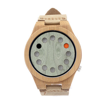 12holes Green Dial Natural Bamboo Wooden Watch Genuine Brown Leather Strap Japanese Quartz Movement Casual Watch Men Watch