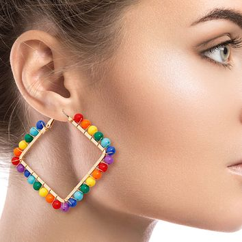 Gold Square Hoop Earrings Wrapped with Rainbow Beads