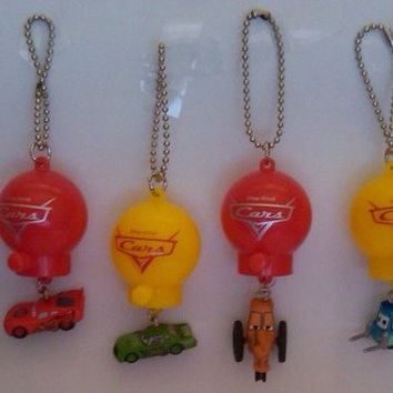 Yujin Pixar Cars Disney Characters Capsule World Gashapon 8 Light Up Strap Figure Set