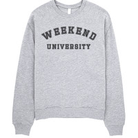 Weekend University | Grey Crewneck Sweatshirt by OniTees