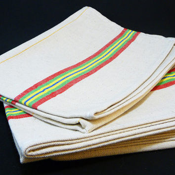 Set of 3 vintage kitchen towels 60's unused french kitchen made in France linen cotton red yellow green houseware tableware dishcloth mom