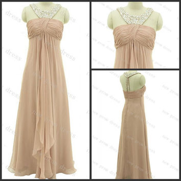 Straps sleeveless Floor-length chiffon with beads evening dress,prom dress