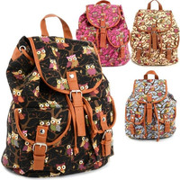 Women Cute Cartoon Owls Pattern Canvas Backpack Shoulder Bag Students Schoolbag Book Bag SV004105 = 1745599108
