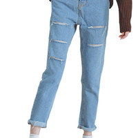 Light Blue Frayed Skinny Jeans