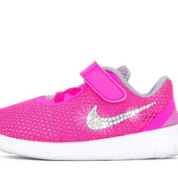 Girls' Nike Free RN - Crystallized Swarovski Swoosh - Infant/Toddler (2c-10c) - Pink