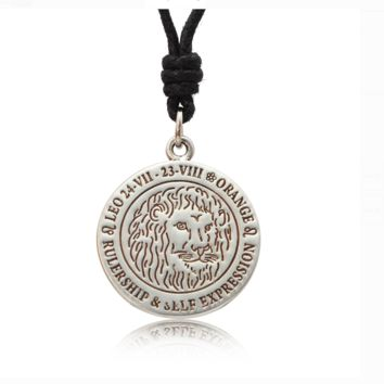 Astrology Silver Pewter Charm Flat Round Necklace Pendant Jewelry With Cotton Cord