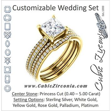 CZ Wedding Set, featuring The Isidora engagement ring (Customizable Princess Cut Center with Wide Triple Pavé Band)