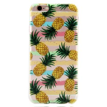 Hawaii Pineapple Printed iPhone 7 7Plus & iPhone se 5s 6 6 Plus Case Cover +Gift Box-86