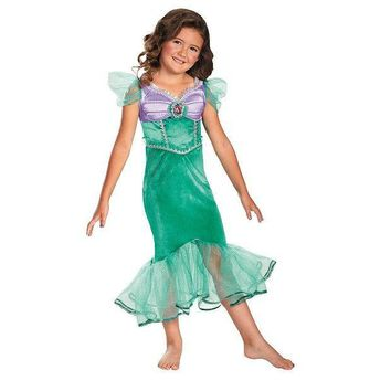 MDIGPL3 Disney Princess Ariel Sparkle Costume - Girls 4-8 (Green)