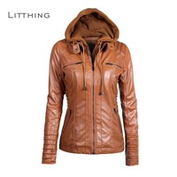 LITTHING Faux Leather Jacket Women Hoodie Winter Autumn Motorcycle Jacket PU Jacket Black Outerwear Faux Leather 2018 Coat HOT