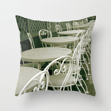 Pillow Cover - Cafe, Table, Chairs, black & white, sepia, Paris, France, Restaurant, romance, love, Europe, street scene, coffeehouse, food