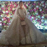 Sexy Lace Ball Gown Wedding Dresses Luxury Vintage Wedding Gowns Long Sleeve Cathedral Train Romantic Bridal Gown