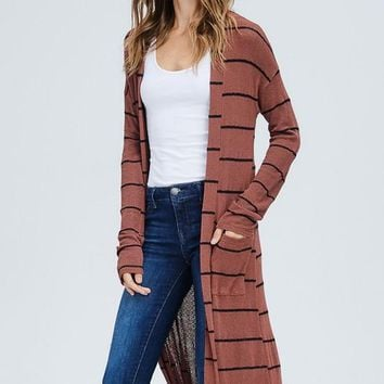 Rust and Black Striped Duster Cardigan