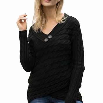 Black Buttoned Sweetheart Neck Cable Knit Sweater