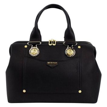 ICIKIN9 VERSUS VERSACE Black Leather Lion Head Satchel Hand Bag