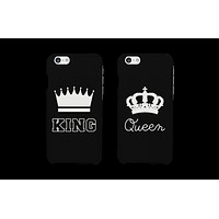 King and Queen Crown Matching Couple Phone Cases Gift for Couples