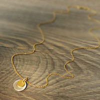 Gold tiny disc necklace, silver disc necklace, double disc necklace, coin necklace, minimalist, dainty jewelry