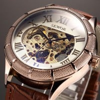 Sewor Skeleton Mechanical Watch