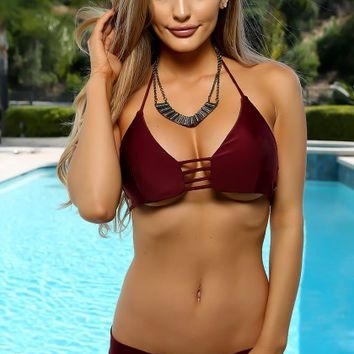 Sexy Wine Strappy Lightly Padded Two Piece Swimsuit