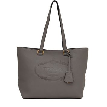 Prada Women's Gray Vit. Daino Leather Shopping Tote 1BG100