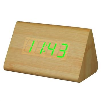 LED Wooden Alarm Clock with Thermometer
