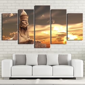 Egyptian Statue Painting Sunset Wall Picture for Living Room Home Decor