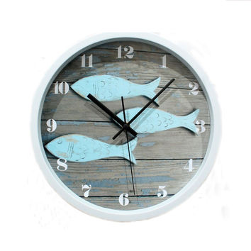 12 Inch Fish Nautical Round Silent Quartz Wall Clock