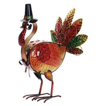 LED Turkey Statue Figurine Indoor Outdoor Automatic Timer Lawn Yard Decor NEW