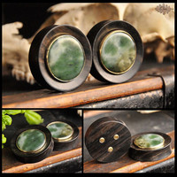 Ebony plugs with Nephrite Jade inlay & brass setting