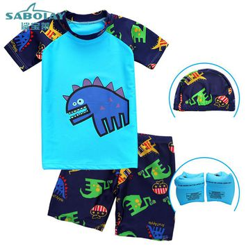 UPF50+ Children Dinosaur Swimwear Two Pieces Minions Bathing Suit Girl for Boys Beach UV Prodection Swimwear Short Sleeve