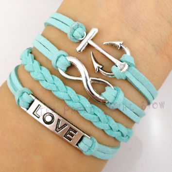 Anchor, Infinity and Love Charm Bracelet in Silver - Turquoise/Tiffany Blue Korean Cashmere and Braid - Customize Your Own Style