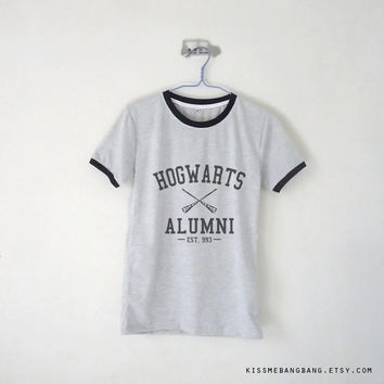Hogwarts Alumni Shirt / Harry Potter Shirt / Hogwarts Alumni Ringer Tee /  Witchcraft and Wizardry / Movie / Tumblr Inspired / Plus Size