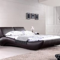 Vouge Contemporary Platform Bed King (Mocha): Home & Kitchen