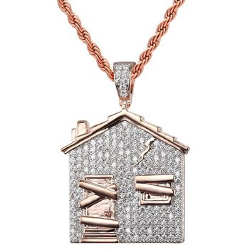 14k Rose Gold Finish Trap House Rapper Iced Out Pendant Chain